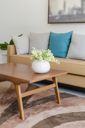 plant in ceramic vase on wooden table with modern sofa at home Stockfoto