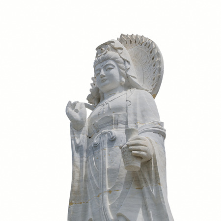 goddess of mercy: The statue of buddha, goddess of mercy on white background Stock Photo