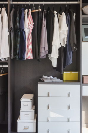 walk in closet: dark color scheme modern walk in closet design with clothes hanging