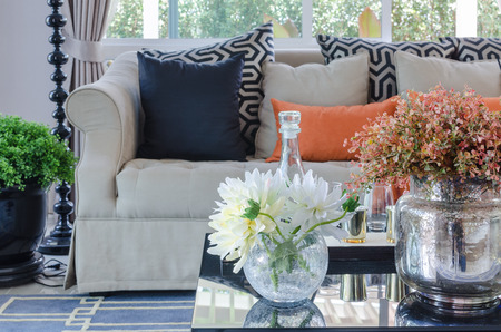 vase of flower on table in luxury living room at home