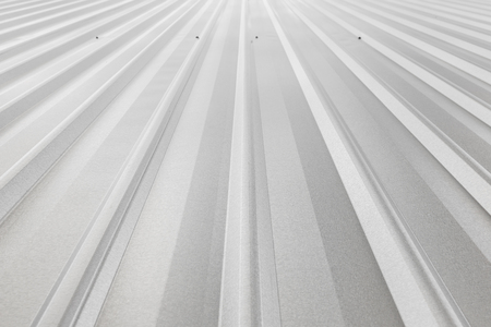 metal sheet: corrugated sheet metal, reflecting light Stock Photo