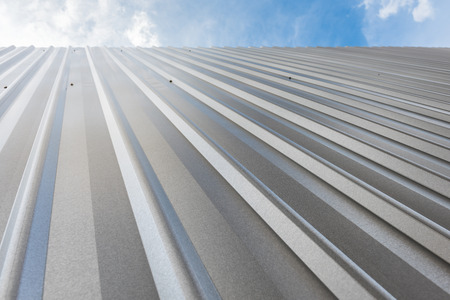 corrugated sheet metal, reflecting light Stock Photo