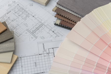 the view option: interior drawing with  material color scheme design Stock Photo