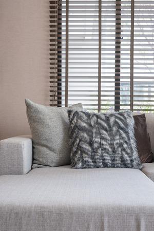 modern living room: pillows on modern sofa in modern living room Stock Photo