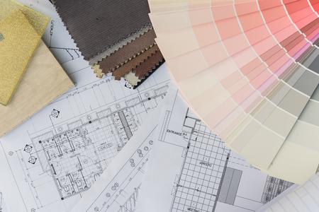 interior design: interior drawing with  material color scheme design Stock Photo