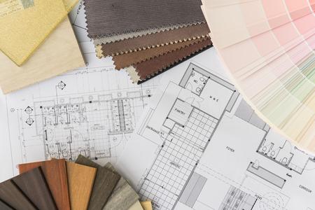 interior drawing with  material color scheme design 版權商用圖片