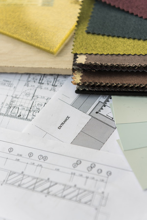 choosing clothes: interior drawing with  material color scheme design Stock Photo