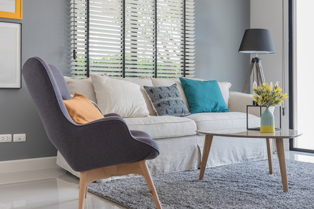 modern living room with modern chair and sofa at home 스톡 콘텐츠