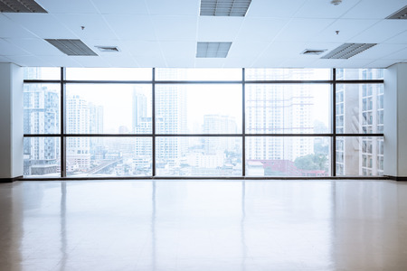 large office: empty office space with large window, vintage picture style process