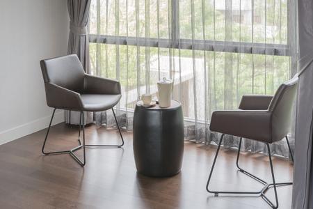 modern living: modern chair in modern living room design Stock Photo