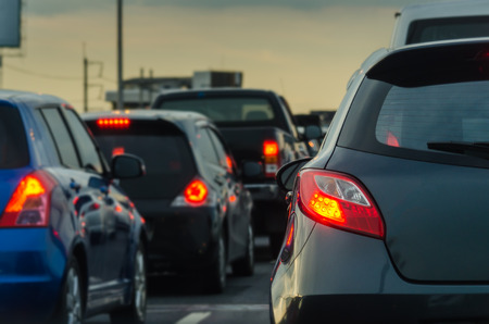traffic: traffic jam with row of cars on expressway during rush hour Stock Photo