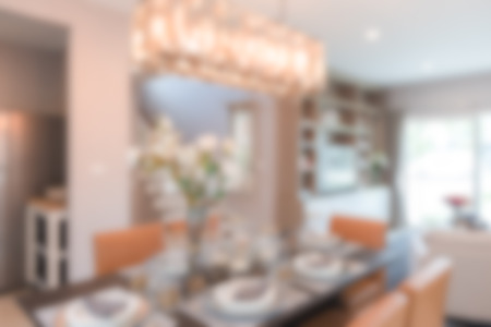dinning room: blur image of modern dinning room at home