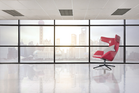 empty office: modern red chair in empty office space with large window, vintage picture style process Stock Photo