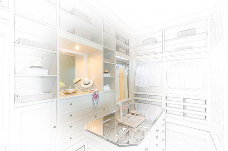walk in closet: sketch design of  luxury walk in closet with white wardrobe