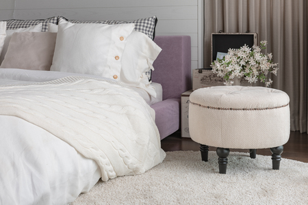 bedroom design: white color theme bedroom design at home Stock Photo