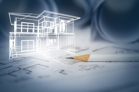 concept of dream house draw by designer with construction drawing as background Imagens