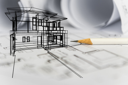 concept of dream house draw by designer with construction drawing as background Archivio Fotografico