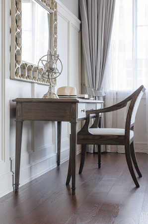 miror: dressing table in luxury bedroom interior with wooden chair and miror