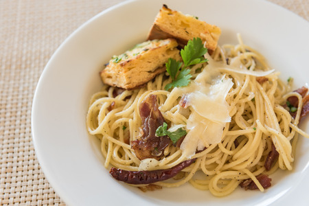 restuarant: Spaghetti Carbonara with bacon and cheese in restuarant Stock Photo
