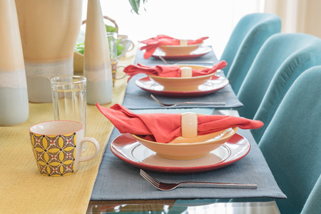 ware house: table set on dining table in colorful dining room design