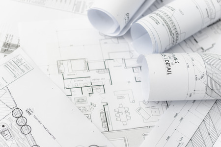 Architectural for construction drawings with roll of blueprint stock architectural for construction drawings with roll of blueprint photo malvernweather Choice Image