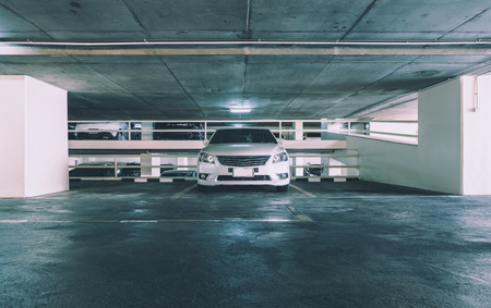 parking lot interior: Empty parking lot in car parking floor, vintage style picture process