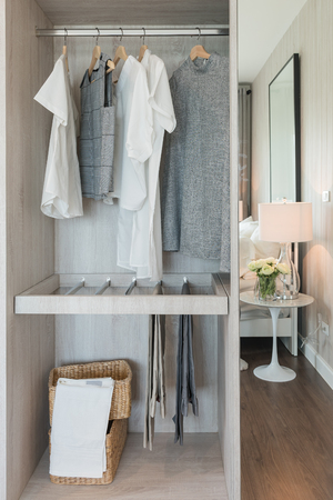 walk in closet: nodern walk in closet interior design with clothes hanging on rail in bedroom
