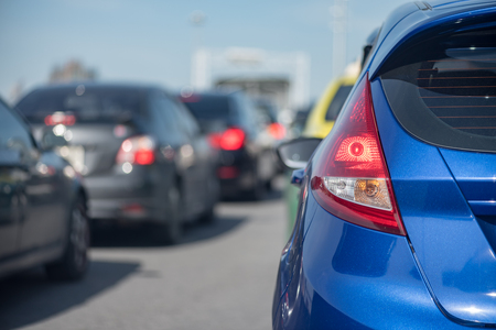row of car with traffic jam on express way Stock Photo