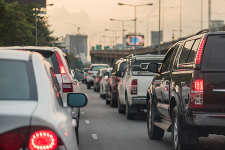 city traffic: traffic jam with row of car on express way