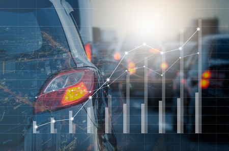 double exposure of traffic jam with row of cars on expressway during rush hour, vintage style process with graphs interfaces Stock Photo