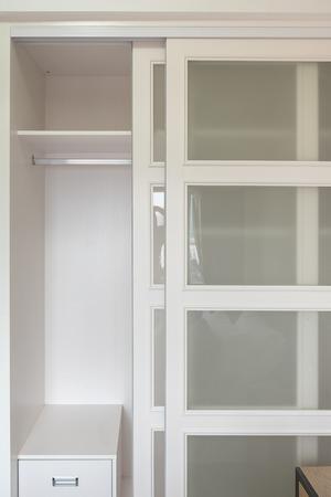 blank wooden wardorbe design in bedroom interior desgn concept Stock Photo