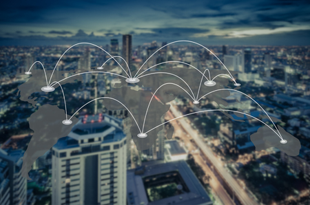 connection and network system concept over blurred cityscape, blue tone process Stock Photo