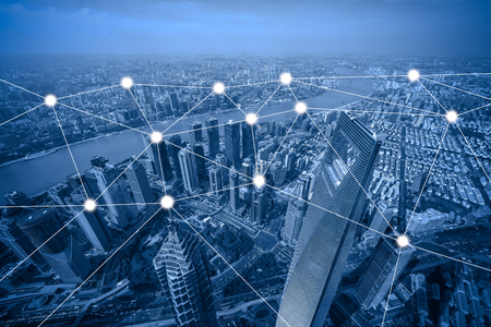 network and connection concept with cityscape as background, business concept, vintage style process