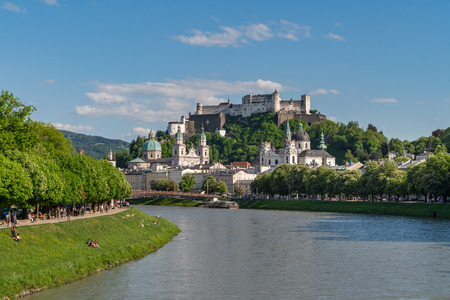 Classic view of historic city, beautiful view of Salzburg skyline with Festung Hohensalzburg and Salzach river in summer, Salzburg,Austria