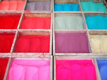 pigments: Various pigments in a wooden box