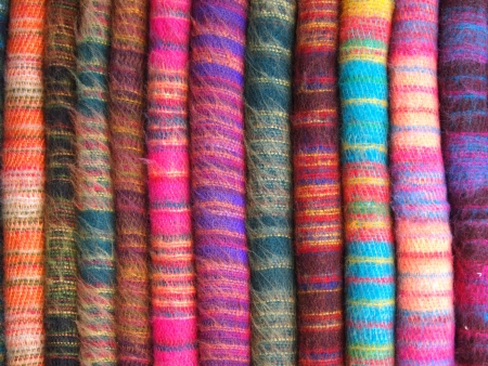 handicrafts: Fabric Kashmir in Nepal Stock Photo