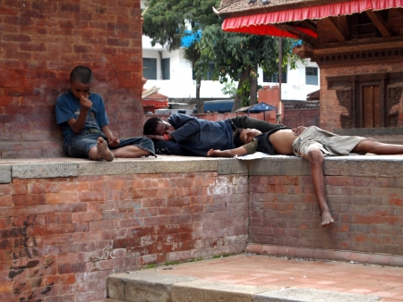 Many boys are sleeping in Kathmandu, Nepal Stock Photo - 17227432