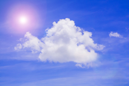 atmospheric phenomena: Blue cloudy sky, soft fluffy clouds, daylight good weather, beautiful peaceful landscape, natural background with white text space.