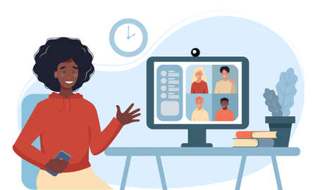 Woman using computer for collective virtual meeting and group video conference. Woman at desktop chatting with friends online. Vector illustration for videoconference, remote work, technology concept