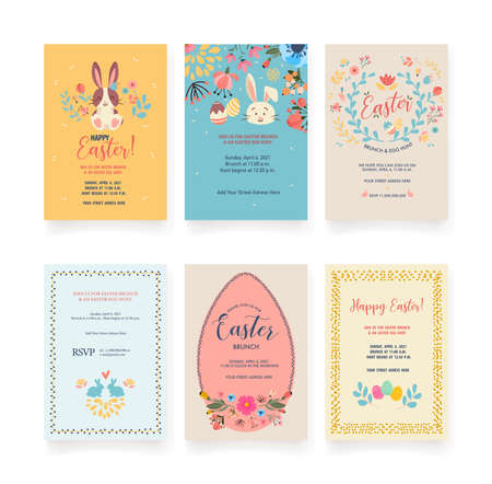 Vector Easter invitations and greeting cards with eggs, flowers, floral wreath, rabbit and typographical design on a textured background