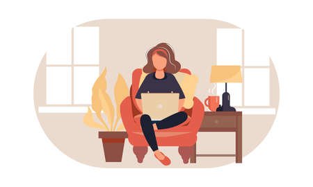 Working at home. Freelance woman work in comfortable conditions, vector flat illustration. Freelancer character woman working on laptops at home. Distance learning, online education