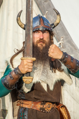 viking: Strong viking with his sword Stock Photo