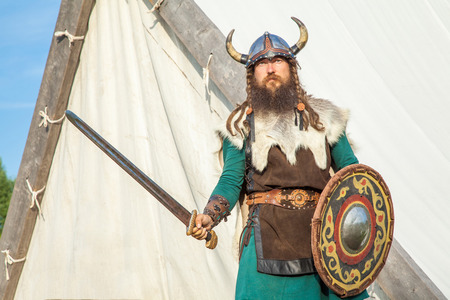 Strong viking is defending near his territory 版權商用圖片