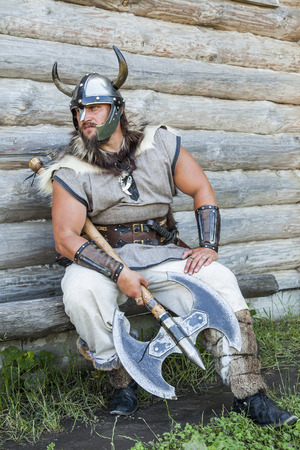 viking: The portrait of Viking with his axe