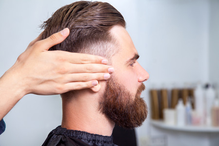 barbershop: Bearded man sitting in the barbershop Stock Photo