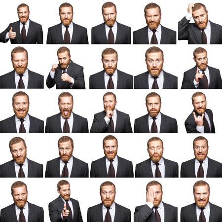 25 다른 감정 가진 소송 수염 된 사업가. 흰색으로 격리. 스튜디오 샷.