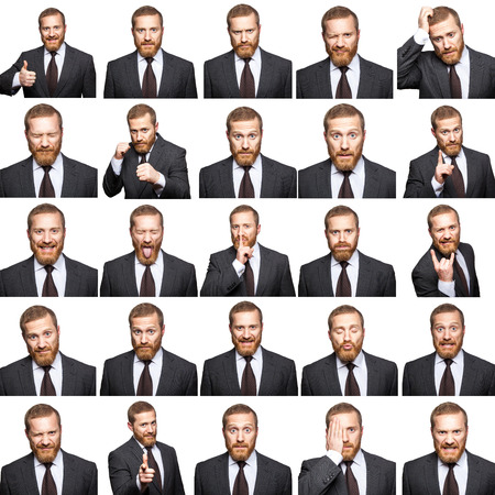 The bearded businessman with suit with 25 different emotions. isolated on white. studio shot. Stockfoto