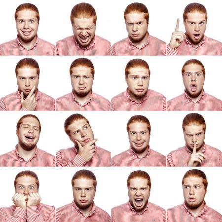 Mosaico de hombre de negocios que expresa diferentes emociones. El empresario barbudo con camisa blanca roja con 16 emociones diferentes. aislado en blanco. tiro del estudio