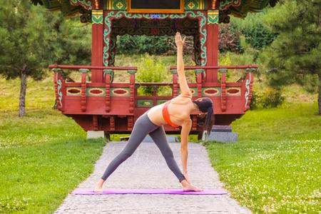 potěšen: Veselá mladá krásná žena, která cvičí a představuje jógu ve východoasijském parku.