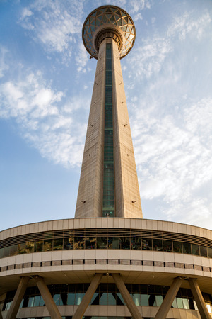 comunication: Milad tower in Tehran capital of Iran. the sixth tallest tower and the 24th tallest freestanding structure in the world. Stock Photo